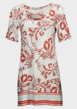 Simply Ladies Short Sleeve Coral Red Floral Tunic Dress  Size 10 12 14 16 18 20