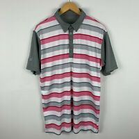 Rj Golf Polo Shirt Mens Size Large Multicoloured Striped Short Sleeve Collared