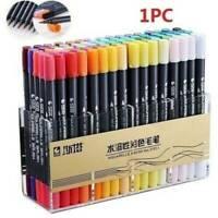 80 Color Dual Tip Brush Markers Pens Set Art Paint Highlighter Watercolor ink UK
