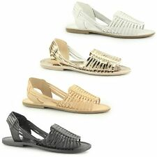 LUCILLIA Ladies Womens Leather Slip On Summer Comfy Casual Gladiator Sandals