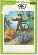 Yo Yo Circle Toys Hippo Monkey Lion Vintage Simplicity Sewing Pattern 9157 Uncut