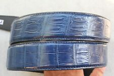Without Jointed -Blue Genuine CROCODILE Belly LEATHER Skin Men's Belt -W 1.5inch
