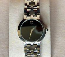 "Ladies  MOVADO ESTIMO Black Museum Dial St Steel Swiss Quartz Watch 7 1/4"""