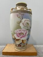 Antique Japanese Nippon TE OH Hand Painted Porcelain Vase w/ Flowers Decoration
