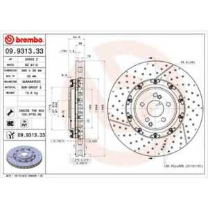 BREMBO 2x Brake Discs Slitted/Perforated Interior Vented Coated 09.9313.33