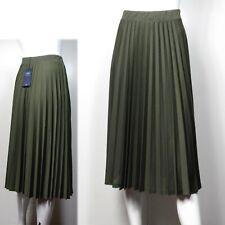M&S A-Line PLEATED Midi SKIRT ~  Various Sizes ~ KHAKI Green