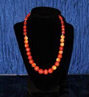 """Vintage Sterling Natural Apple Sponge Coral Graduated Bead Necklace 50.6g 19.5"""""""