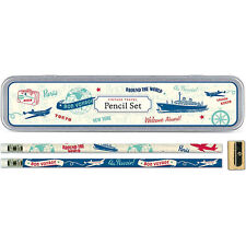 Cavallini Vintage Travel Pencil Set, Set of 10 Pencils in a Tin Box