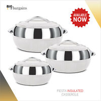 Hot Pot Casserole Serving dish Pan 3pc Set Insulated Cold Warm Thermal Food Bowl