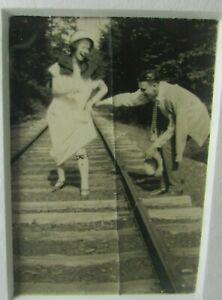 "1920s Man Woman Couple Railroad Tracks Garter 2 3/4"" x 1 7/8"" Photo 8x10 Matted"