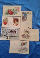 Holiday Postcard Lot Valentines Day New Years Eve Birthday Vintage Chrome