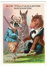 TRADE CARD FRENCH AUX TRAVAILLEURS FASHION SHOP DRESSED ANIMALS
