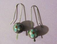 Purple Beaded Cloisonne Sterling Silver Hook Back Dangle Drop Earrings 4+ grams