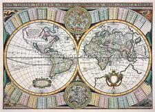 Decorative Reproduction Tavernier Antique Double Hemisphere Old 1643 World Map