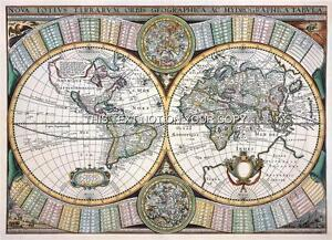 Decorative Reproduction Tavernier Antique Double Hemisphere Old 1643 World Map