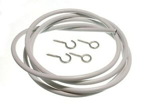Net Curtain Wire White  PLUS  Hooks And Eyes 1M - 30M any Length 1 to 30 METRES