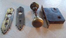 Antique Door Knob with Lock ~ Has a 4 cast into it~ GC