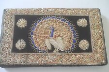 Fabulous Vintage Encrusted Embroidered Clutch Purse w/ Peacock Ss853