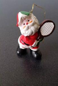 Holiday Santa with Tennis Racket Ornament