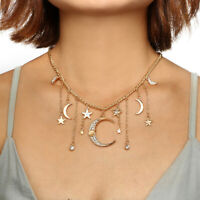 Women Multilayer Choker Jewelry Necklace Crystal Star Moon Pendant Gold Chain