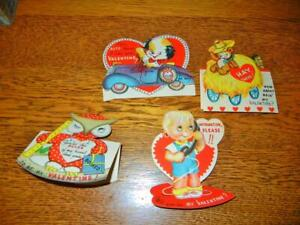 4 VINTAGE AMERICAN GREETING STANDUP VALENTINE CARDS LATE 1940'S