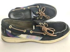 Sperry Top Sider Navy Leather Multi Color Boat Comfort Shoes Women's 9