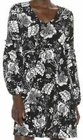 NWT Karen Kane Black/White Floral Long Smocked Sleeve Dress Women's Size L