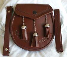 3 Tassels Scottish Kilt Sporran, Fine Quality Brown Cowhide Real Leather + Belt