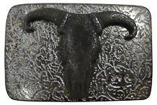 "antique silver, 1.5""/4cm, longhorn buckle Fronhofer Buffalo skull belt buckle,"