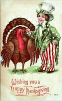 Antique Thanksgiving Uncle Sam Boy Turkey 1910 Postcard AG