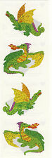 Mrs. Grossman's Stickers - Sparkle Dragon - Fire Breathing Dragons - 3 Strips