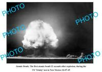 OLD LARGE PHOTO 1st ATOMIC BOMB EXPLOSION NEW MEXICO 1945