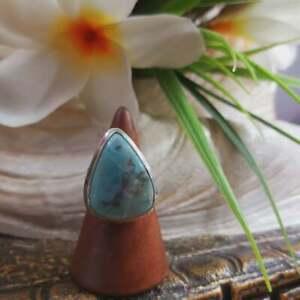 Larimar Emotional Healing Gemstone Ring US 7.5 (E1704)