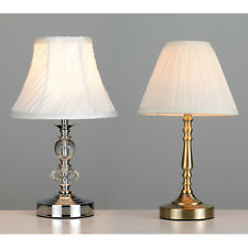 Chrome / Antique Brass & Glass Jewel Touch Dimmer Table Lamp Bedside Lights NEW