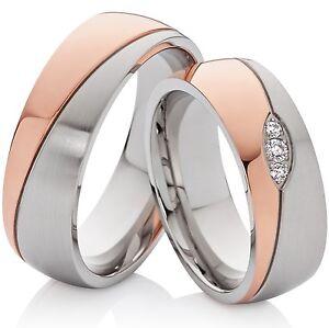 2 Ringe Trauringe Eheringe Verlobungsringe rosegold & silbern & 3 Zirkonia
