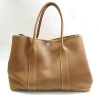 HERMES Garden party PM hand tote bag Negonda leather Gold Used