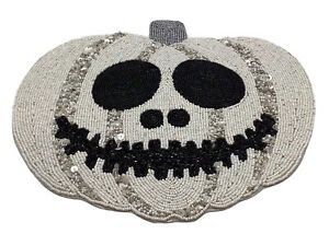 """NWT NICOLE MILLER HALLOWEEN Beaded Placemat Charger Jack Scary Pumpkin 15"""" X 13"""""""