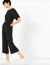New M&S COLLECTION Black Cropped Leg Belted Jumpsuit Sz UK 10