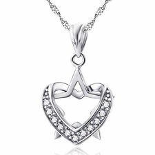 """Sterling Silver Heart Star Cubic Zirconia Pendant Necklace 18"""" Chain Gift A2"""