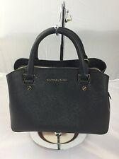 Michael Kors Small Savannah Black Saffiano Leather Satchel Handbag MSRP $298