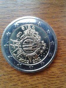 """pièce neuve 2 euros 2012 """"10ans"""" irlande"""