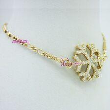 Solid 18k Yellow Gold GF Snow White Bracelet Figaro Chain Ring Clasp Lab Diamond
