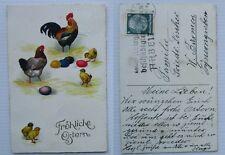 litho osterkarte küken eier hühner 1935