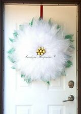 White Poinsettia Deco Mesh Christmas Door Wreath, {Handmade}