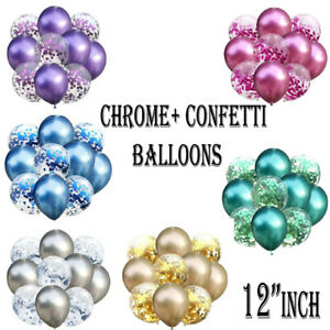 "PACK OF 50 12""inch Chrome Confetti Latex Balloons for Wedding Birthday party uk"
