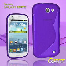 Purple S Curve Gel Case +SP for SAMSUNG Galaxy Express i8730 Jelly Tp soft cover