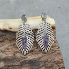 925 Sterling Silver Leaf Earring Studded Natural Ruby Sapphire& Pave Diamond SA