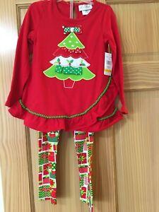 NWT Emily Rose Christmas Tree Shirt Top Leggings Set Christmas Holiday Girls