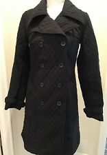 Merona Black Quilted Trench Missing Belt M