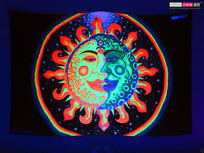 Psychedelic Sun + Moon UV Tapestry Fluorescent Backdrop Wall Hanging Party Decor